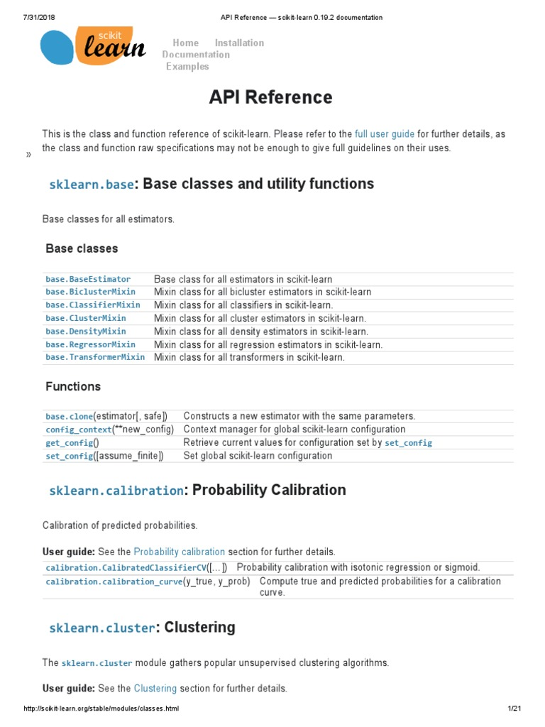 API Reference — Scikit-learn 0 19 2 Documentation