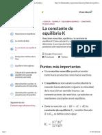 La constante de equilibrio K (artículo) | Khan Academy