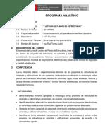 Programa Analitico Lectura de Planos Estructuras Tamburco