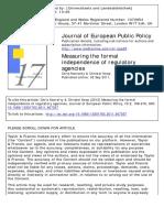 13501763.2011.607357] Hanretty, Chris; Koop, Christel -- Measuring the Formal Independence of Regulatory Agencies