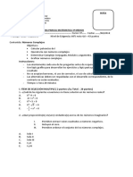 Evaluación Números Complejos 3º Medio 2018