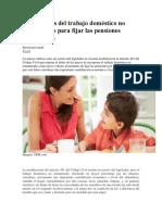 Los Alcances Del Trabajo Doméstico No Remunerado Para Fijar Las Pensiones Alimenticias