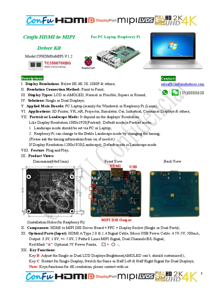 Confu HDMI to MIPI 2K 4K Driver_Specification V1808 | Personal