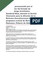 Sesión Itinerante Para La Difusión de La Reforma Constitucional Del Programa Estatal de Derechos Humanos