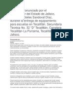 """Entrega de Equipamiento Para Escuelas en Tecalitlán. Secundaria Técnica No. 32 """"D"""" Tecalitlán"""