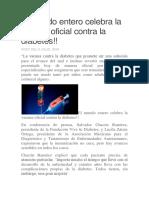 El Mundo Entero Celebra La Vacuna Oficial Contra La Diábetes
