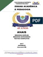 Anais XXVII Semana Academica de Pedagogia