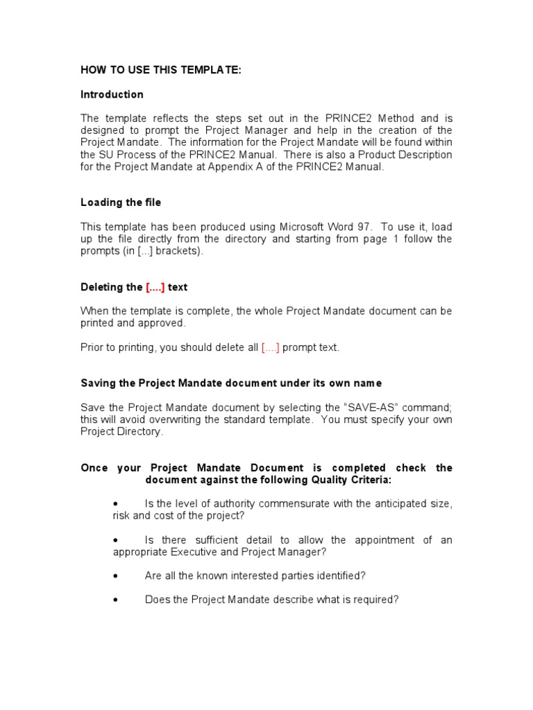 Prince2 Project Mandate Template   Business   Technology