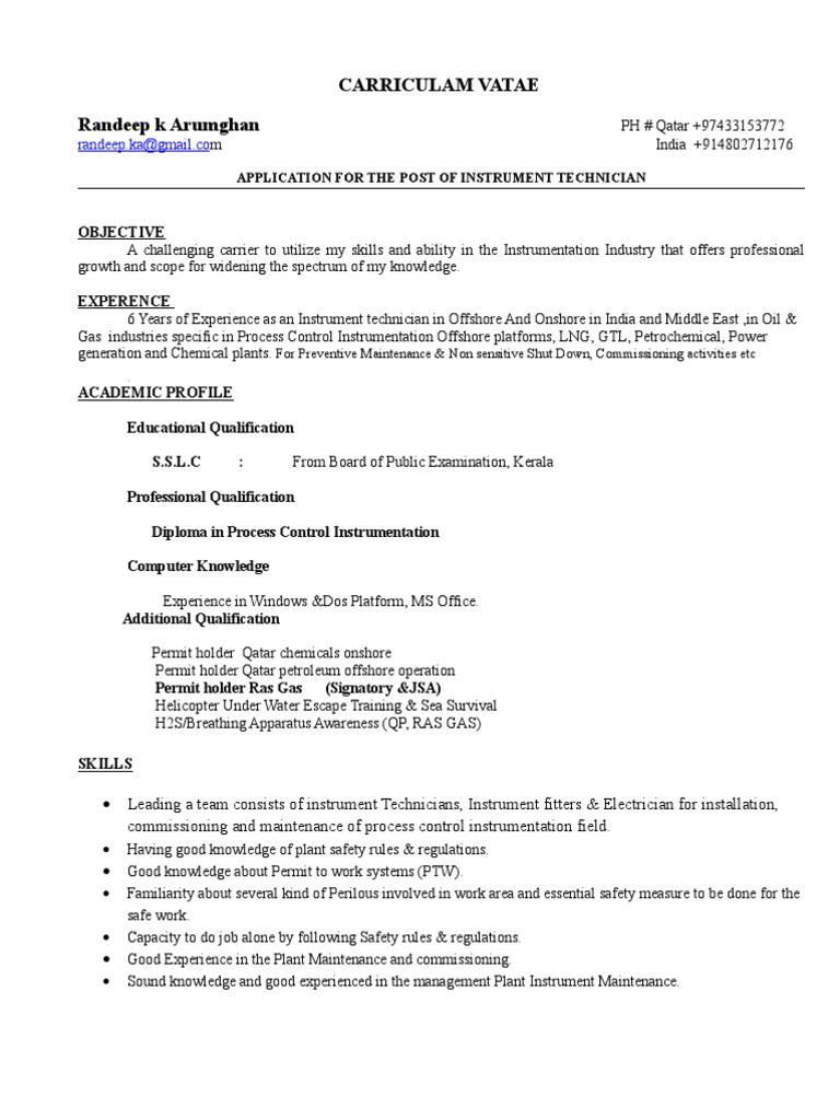 instrument technician cv 1 1 technology energy and resource 1502869071 instrument technician