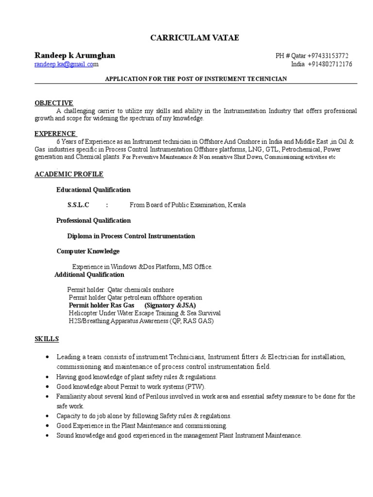 Captivating Instrument Technician Cv (1) (1) | Technology | Energy And Resource