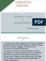 PARKINSON's DISEASE Nursing Management