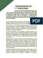Nuevos Transgénicos - Cáncer y Toxicidad