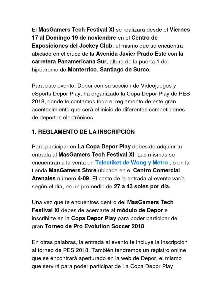 Bases Campeonato Pes 18 Docx