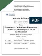 Evaluation de l'Activité Anti-dépressive de l'Extrait de Ulmus Campestris Sur Un Modèle Animal