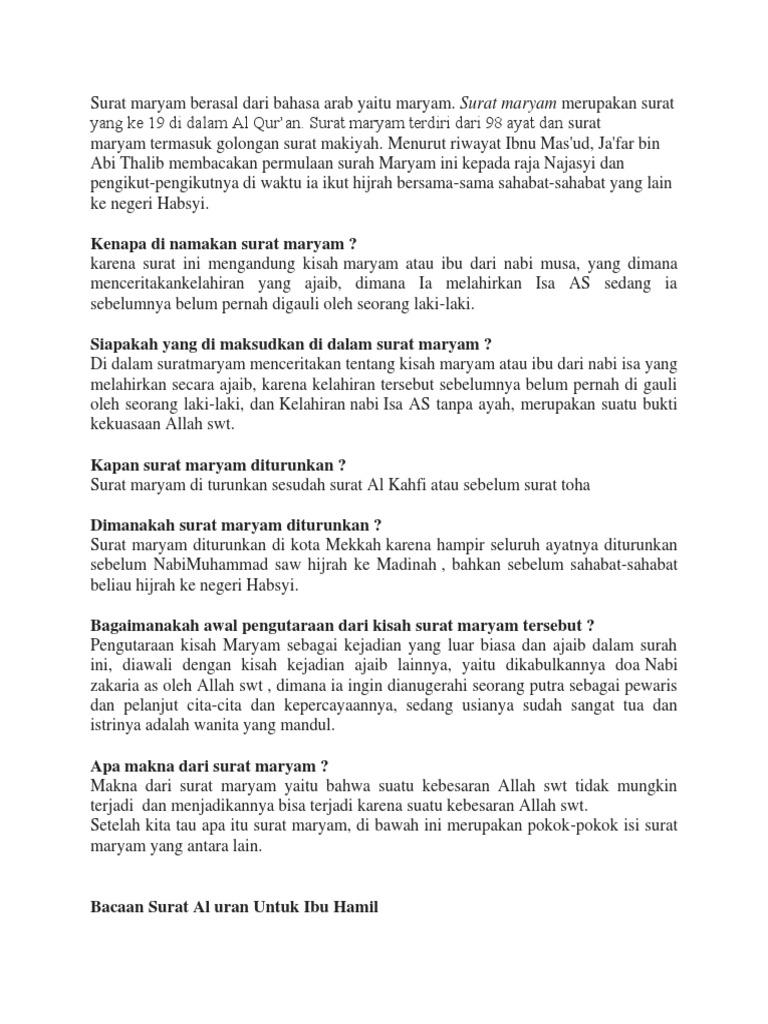 Lilia Bacaan Surat Maryam Bahasa Indonesia