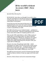 Macau Will Be World's Richest Territory in 2020_ IMF _ New Straits Times