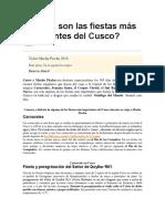 Cuáles Son Las Fiestas Más Importantes Del Cusco