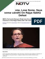Rajya Sabha Deputy Chairman Election_ Sonia Gandhi Says We Win Some, We Lose Some on Rajya Sabha Defeat