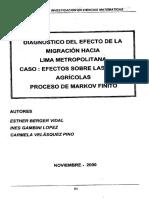 Diagnóstico Del Efecto de La Migración Hacia Lima Metropolitana