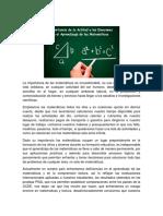 Marco Teórico - Importancia de la Actitud y las Emociones en el Aprendizaje de las Matemáticas
