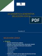 Gramatica Generativa - Seleccion lexica