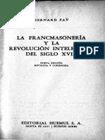 La Francmasonería y la Revolución Intelectual del Siglo XVIII - Bernard Fay