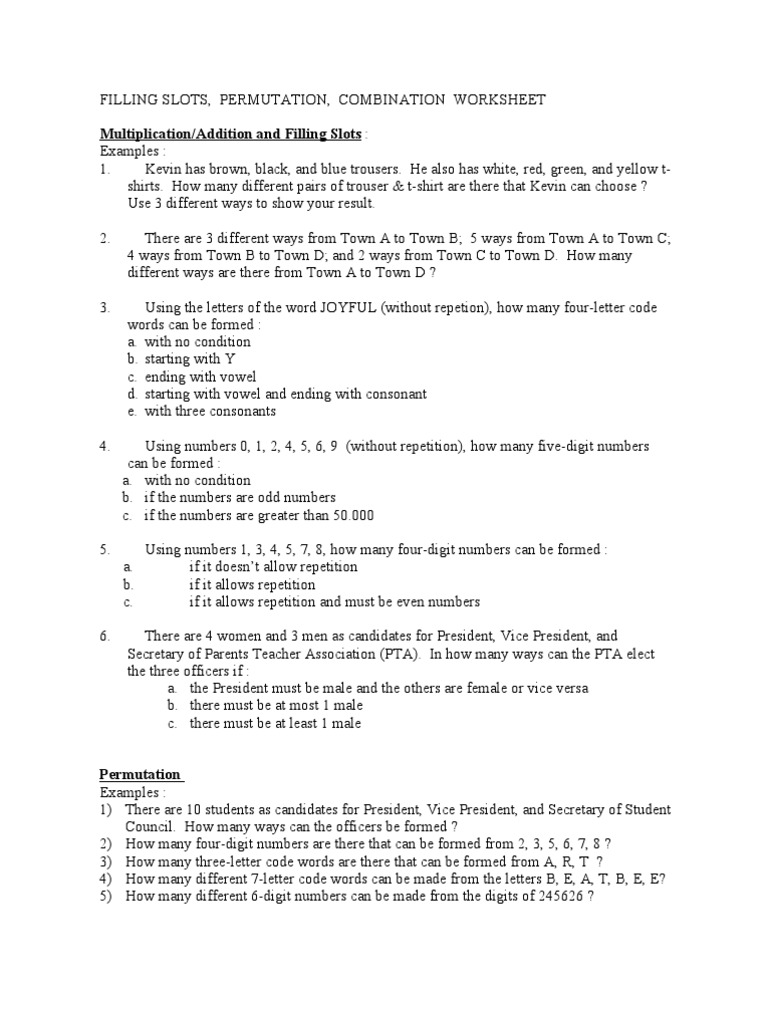Worksheets Permutation Worksheet permutation worksheet worksheets rejuvenems thousands of printable sharebrowse collection and combination sharebrowse