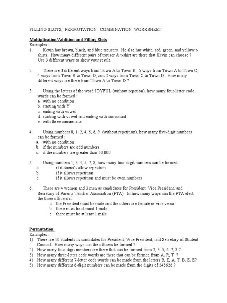 Combinatorics Worksheet Ephemera Gaming Devices