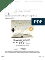 Glosario de Términos Usados Criptomonedas