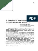 A Economia Da Província Da Bahia Na Segunda Mtade Do Século XIX