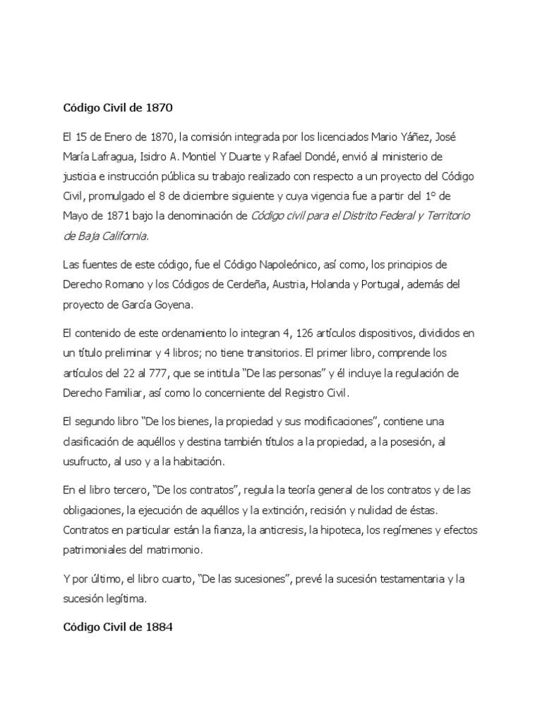 Código Civil de 1870, 1884, 1928