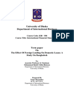 Turjo Mazumder Report on the Effect of Foreign Lending on Domestic Loan Dhaka University MBA