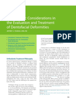Orthodontic Considerations in the Evaluation and Treatment of Dentofacial Deformities
