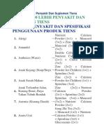 Daftar 100 Lebih Penyakit Dan Suplemen Tiens