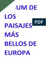Álbum de Los Paisajes Más Bellos de Europa