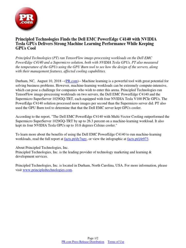 Principled Technologies Finds the Dell EMC PowerEdge C4140