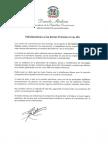 Mensaje de felicitación del presidente Danilo Medina con motivo del Día Nacional de las Zonas Francas 2018