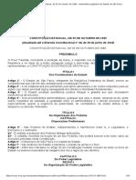 Constituição Estadual, De 05 de Outubro de 1989 - Assembleia Legislativa Do Estado de São Paulo