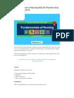 Fundamentals of Nursing 25 Practice Questions