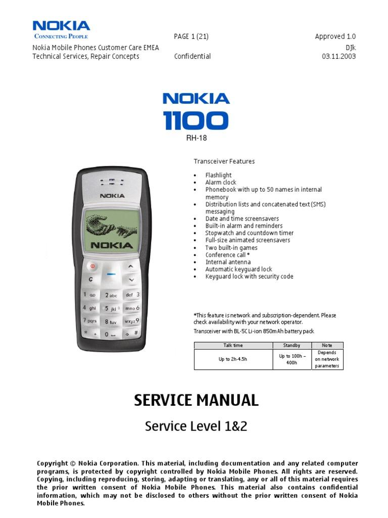 Nokia 1100 Service Manual Level 1 2 Soldering Nokia
