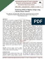 Structural Health Monitoring (SHM) of Highway bridges using Wireless Sensor Network