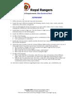 Royal Rangers  Blue Merit requirements