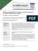 Análisis de Las Dificultades en El Discurso Narrativo en Alumnado Con TEL