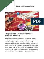 Nama Poker Online Indonesia Anapoker