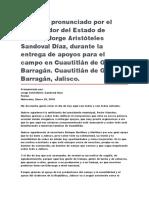 Entrega de Apoyos Para El Campo en Cuautitlán de García Barragán