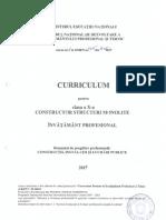 Curriculum clasa a X-a, învăţământ profesional, CONSTRUCTOR STRUCTURI MONOLITE