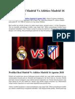Prediksi Real Madrid vs Atlético Madrid 16 Agustus 2018