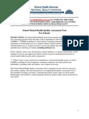 School Mental Health Quality Assessment Tool For Schools Mental Health Community