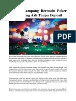 Teknik Gampang Bermain Poker Online Uang Asli Tanpa Deposit