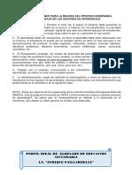 Recomendaciones Para La Mejora Del Proceso Enseñanza Aprendizaje en Las Sesiones de Aprendizaje.